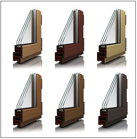 Коричневые пластиковые окна в интерьере