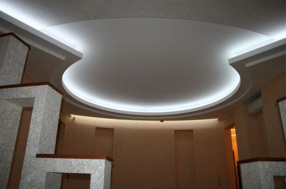 Пошаговое устройство гипсокартонного потолка с подсветкой