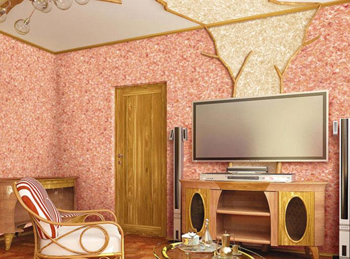 Дизайн потолка жидкими обоями